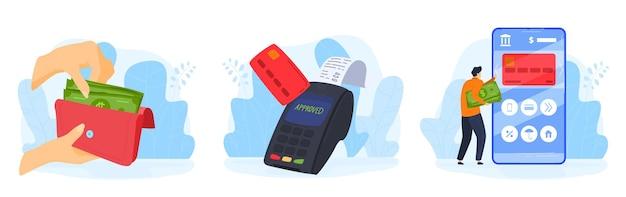 As pessoas pagam o conjunto de ilustração de serviço de dinheiro.