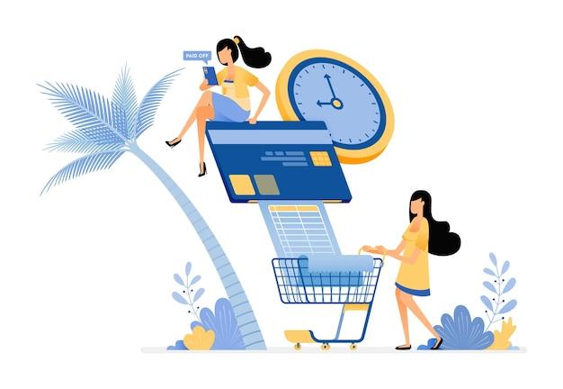 As pessoas pagam suas contas de cartão de crédito e contas mensais de mercearia em dia.