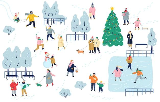 As pessoas passam mais tempo outdoot no inverno. parque de inverno. estação fria,