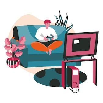 As pessoas passam o fim de semana no conceito de cena em casa. homem jogando videogame no console enquanto está sentado no sofá. descanso, hobby e lazer, atividades pessoais. ilustração em vetor de personagens em design plano