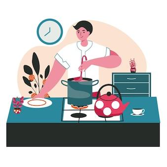 As pessoas passam o fim de semana no conceito de cena em casa. homem preparando comida caseira na cozinha, cozinhando pratos. descanso, hobby e lazer, atividades pessoais. ilustração em vetor de personagens em design plano