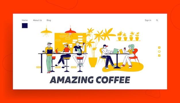 As pessoas passam o tempo de lazer com gadgets no modelo de página inicial do cafe.