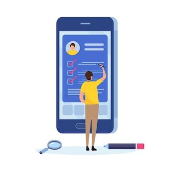 As pessoas preenchem um formulário por meio de um aplicativo para dispositivos móveis.