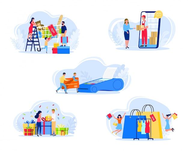 As pessoas que compram ilustração, família ou casal caracteres na loja pagam com cartão, recebem compra ou presente, conjunto de ícones isolado no branco