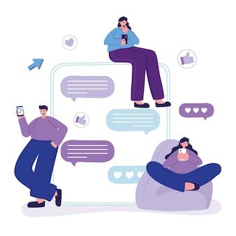 As pessoas que usam o balão de fala de smartphone conversam e conversam