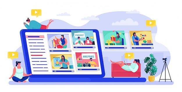 As pessoas que visualizam o blogger, personagens de desenhos animados assistem a um conteúdo on-line de blog ou vlog em branco