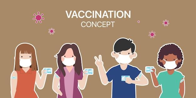 As pessoas recebem a vacina covid19 para protegê-la do vírus