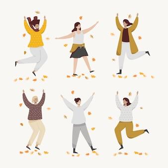 As pessoas são felizes no jardim de outono. ilustração vetorial plana