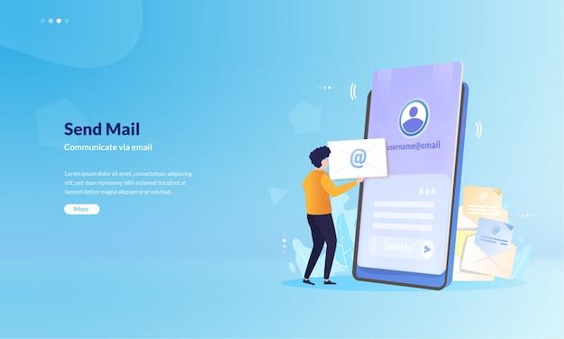 As pessoas se comunicam enviando e-mail sobre o conceito de ilustração