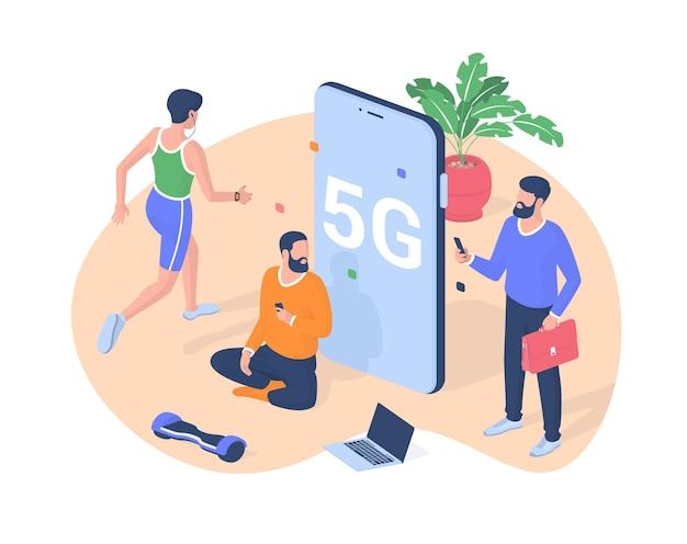 As pessoas se comunicam online usando o vetor isométrico 5g. personagens masculinos com smartphones testam nova velocidade de conexão de rede