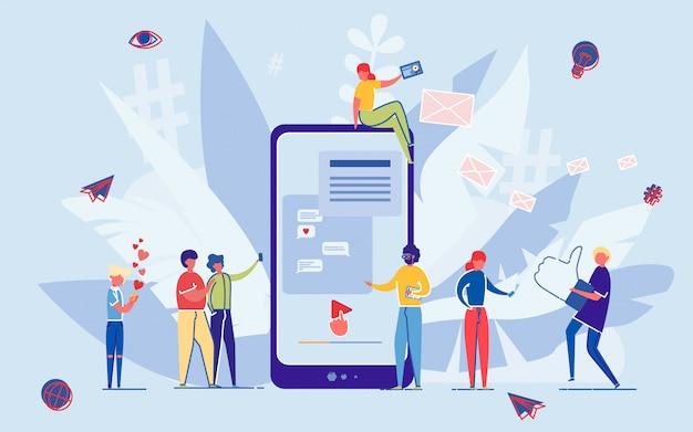 As pessoas se comunicam pelo bate-papo on-line de mídia social.