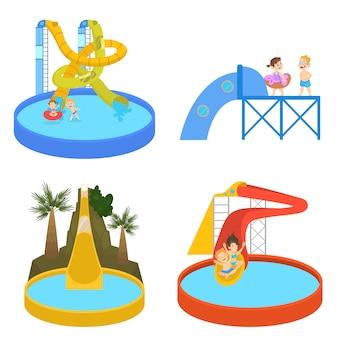 As pessoas se divertem no parque aquático.
