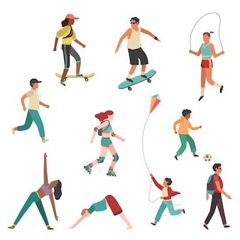 As pessoas se exercitam. pessoa, cidade, menina, menino, homem jovem, mulher, executando, atividade física