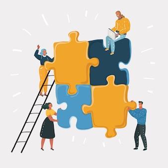 As pessoas se reúnem e trabalham em grandes quebra-cabeças