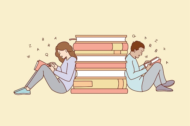As pessoas se sentam perto da pilha de livros lendo no fim de semana