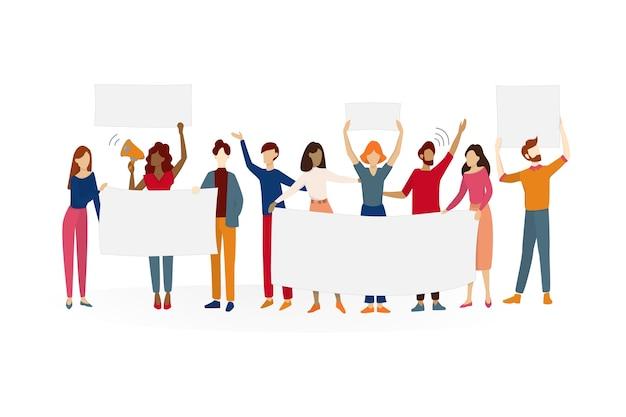 As pessoas seguram a bandeira. grupo de personagens com um tabuleiro vazio em branco para mensagem. conceito de publicidade. ilustração em estilo cartoon