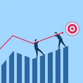 As pessoas seguram a flecha para atingir a metáfora do desenvolvimento e sobreviver. ilustração de conceito plana de negócios.