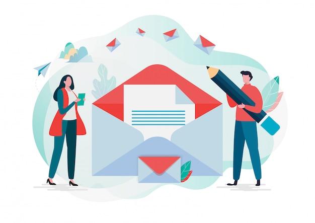 As pessoas seguram o correio. nova mensagem de email.