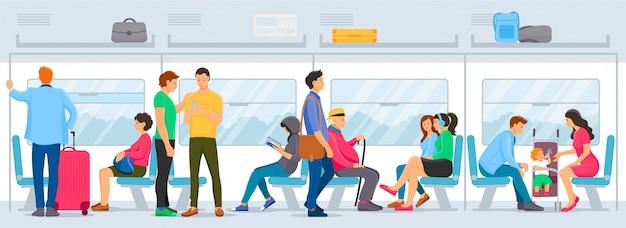 As pessoas sentadas e em pé dentro do metrô transportam metrô.