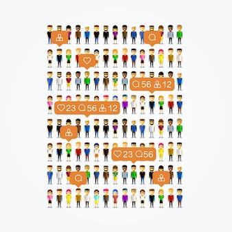 As pessoas sociais aplicam-se como ícones no fundo branco. ilustração vetorial