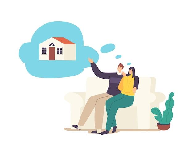 As pessoas sonham com imóveis. personagens de jovens casais no sofá sonhando com uma casa de família