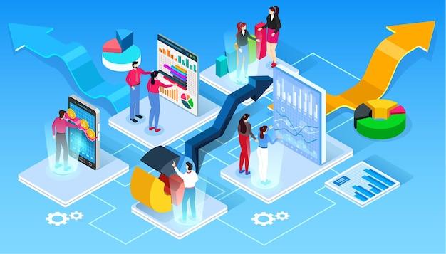 As pessoas trabalham em equipe e alcançam o objetivo. conceito de inicialização. lance um novo produto no mercado. ilustração isométrica.