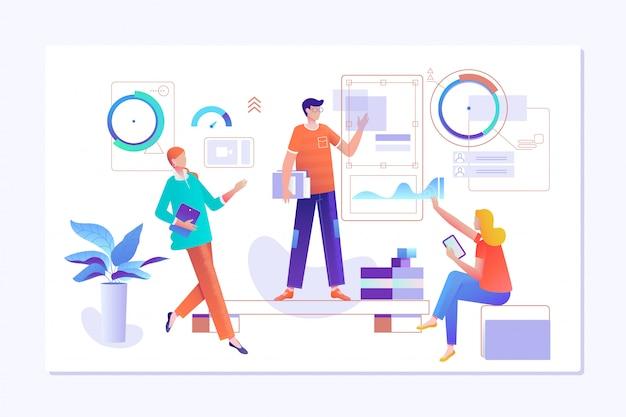 As pessoas trabalham em equipe e interagem com gráficos