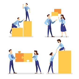 As pessoas trabalham juntas em equipe. estratégia e negócios