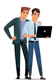As pessoas trabalham na cena do escritório, os colegas olham para a tela do laptop