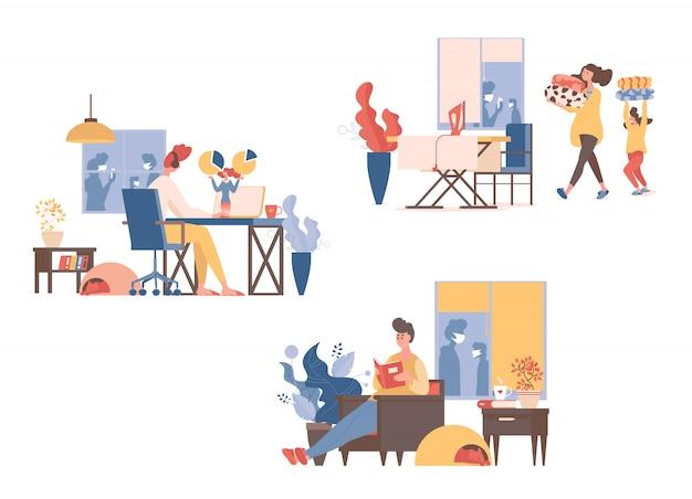 As pessoas trabalham remotamente, lêem livros, fazem tarefas domésticas, passam roupas juntos durante a quarentena.