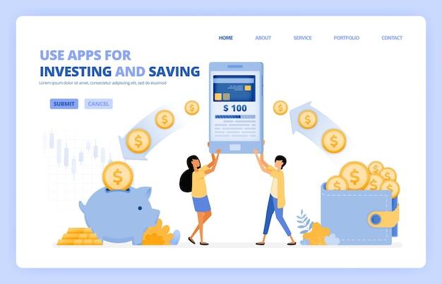 As pessoas usam aplicativos móveis para economizar e investir dinheiro na sociedade sem dinheiro 4.0. o conceito de ilustração pode ser usado para a página de destino