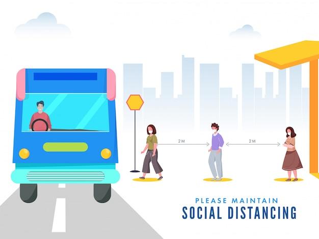 As pessoas usam máscara protetora na fila de viagens de ônibus e mantêm distância social para impedir o coronavírus