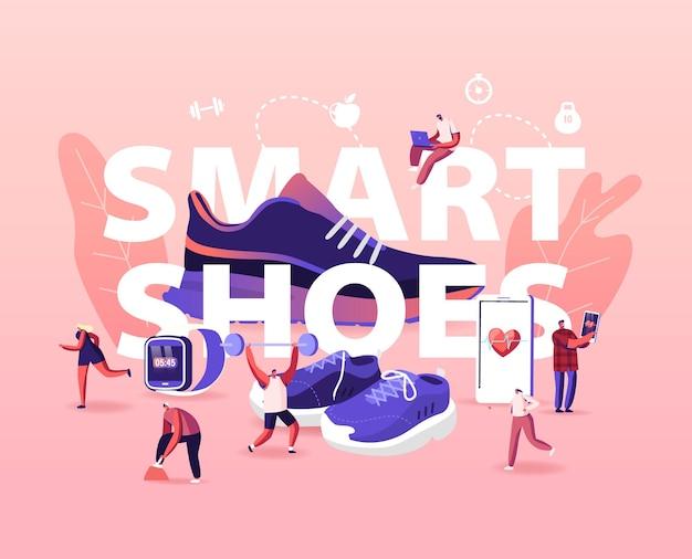 As pessoas usam o conceito de sapatos inteligentes. esportes pessoas treinando em tênis iot.