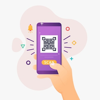 As pessoas usam o smartphone para digitalizar o código qr