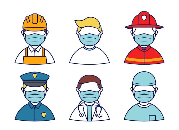 As pessoas usam proteção de máscara do conjunto de profissão de caráter de avatar de vírus de coroa, polícia, médico, bombeiro, cirurgia