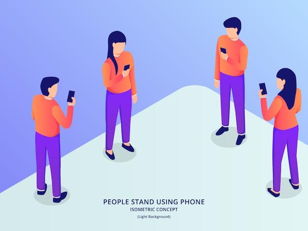 As pessoas usam smartphone com várias posições de homem e mulher com estilo isométrico