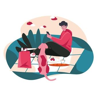 As pessoas usam smartphones no conceito de cena de diferentes locais. homem com telefone celular relaxando no piquenique com o cachorro, atividades de pessoas descansando ao ar livre. ilustração em vetor de personagens em design plano