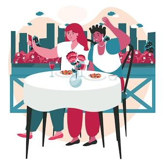 As pessoas usam smartphones no conceito de cena de diferentes locais. mulheres felizes tomando selfie no celular em uma reunião em atividades de pessoas do restaurante. ilustração em vetor de personagens em design plano