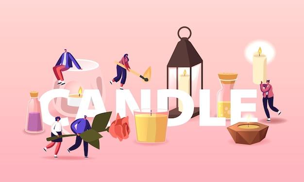 As pessoas usam velas de aroma em casa conceito. minúsculos personagens com enormes velas em castiçais de vidro e cerâmica, ervas, flores e óleos em potes poster banner flyer. ilustração em vetor desenho animado
