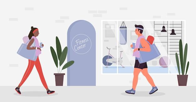 As pessoas vão ao fitness center para praticar exercícios esportivos na academia esportiva mulher e homem