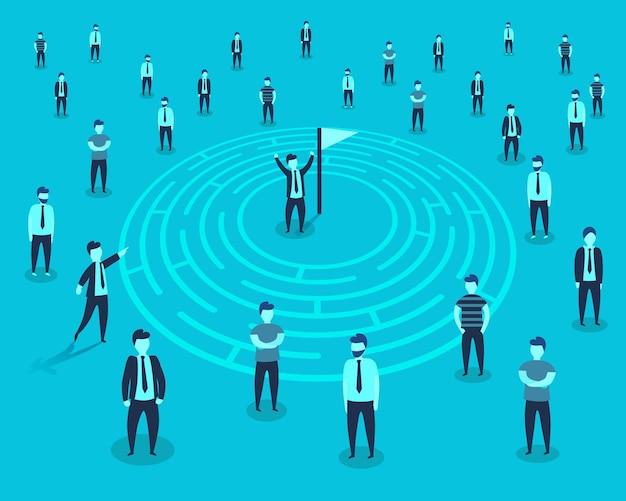 As pessoas vão para a meta no labirinto. ilustração vetorial