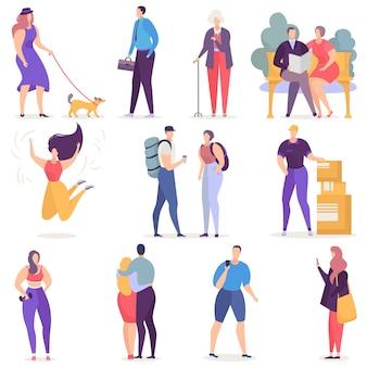 As pessoas vector homem empresário de personagem de mulher com telefone móvel e casal apaixonado, sentado no conjunto de ilustração de banco