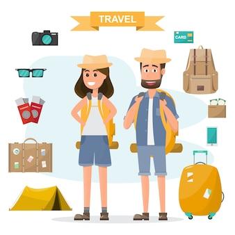 As pessoas viajam. casal com mochila e equipamento conjunto ir para viajar de férias