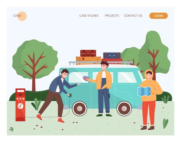 As pessoas viajam de carro elétrico. homem carregando van elétrica. ilustração do conceito de viagens ao ar livre. modelo de design de site da web em vetor. ilustração do site da página de destino.