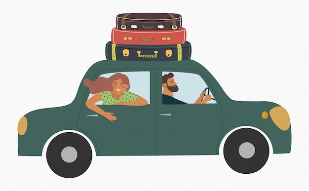 As pessoas viajam de carro.