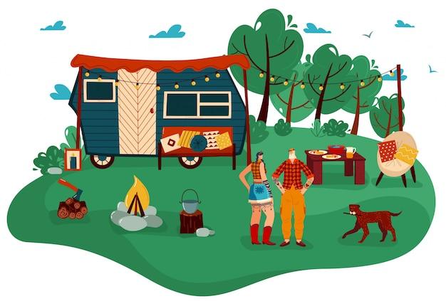 As pessoas viajam na ilustração de reboque, desenhos animados homem plana mulher casal viajante caracteres em pé no acampamento turístico com fogueira