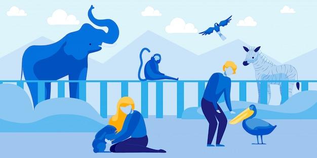 As pessoas visitam o zoológico com animais e pássaros