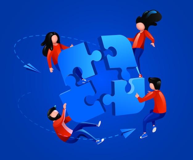 As pessoas voam em torno do quebra-cabeça, trabalho em equipe e conceito de parceria