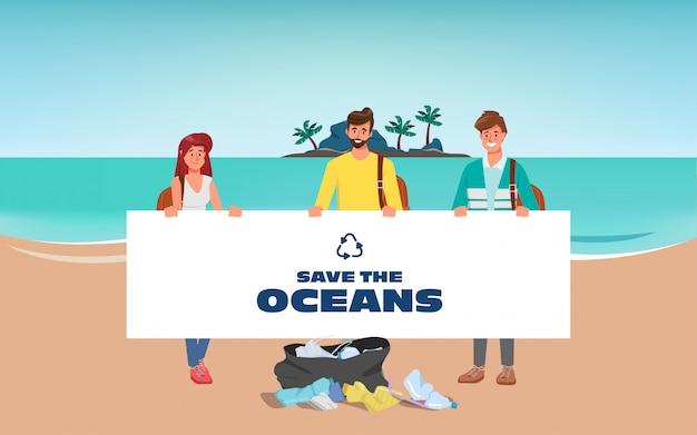 As pessoas voluntárias salvam os oceanos e limpam os resíduos na praia.