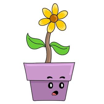 As plantas de girassol crescem em vasos. emoticon de adesivo de ilustração de desenho animado
